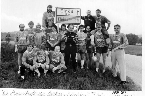 """Fußball, historisch, FC Sachsen Leipzig, 27.05.1991Die Mannschaft des Sachsen Leipzig im Trainingslager in Kleinaspachin der """"Einöde"""",Autorennummer: 435315/Foto: Poller"""