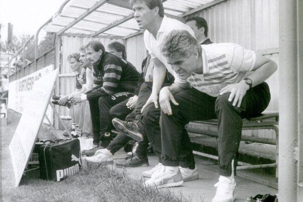 FC Sachsen LeipzigFoto: Westend-PresseagenturTrainer Frank Engel , links Co Achim Steffens 1990
