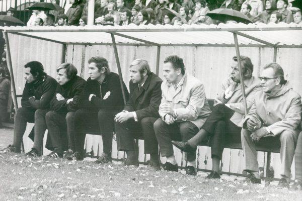 Fußball historisch LeipzigBSG Chemie LeipzigFoto: Westend-Presseagenturv.l. Bernd Hubert, Michael Meyer, Siegfried Stötzner, Manfred Walter, Eberhard Dallagrazia, Günther Busch, ?ca 1972